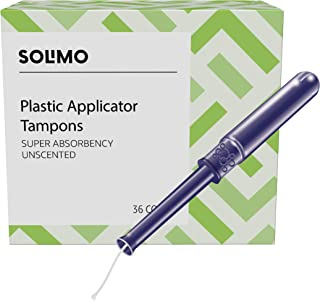 Amazon Brand - Solimo Plastic Applicator Tampons, Super Absorbency, Unscented, 36 Count, 1 Pack