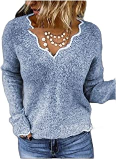 neveraway Womens Long Sleeve Knit Loose Sweaters Curved Oversized V Neck Tops