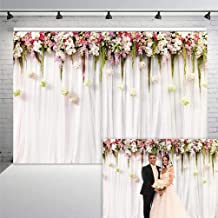 COMOPHOTO Bridal Shower Floral Wall Backdrop Wedding White Flower Party Background 7x5ft Vinyl Reception Ceremony Photography Background Photo Birthday Party Dessert Table Photo Shoot Backdrop