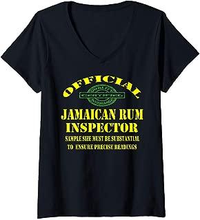 Womens Jamaican Amber Rum Jamaican Dish Food Lover V-Neck T-Shirt
