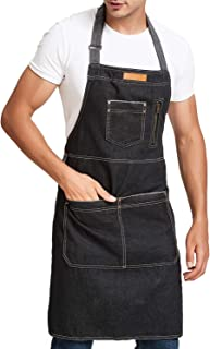 Men Kitchen Apron with Large Pockets for BBQ Chef Cooking Grill with Adjustable Neck Strap Lightweight Denim Apron 33 x 30