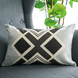 LANANAS Small Decorative Oblong Throw Pillow Covers for Couch Bed Sofa Boho Pillow Cushion Cases (12x 20, Grey Diamond)