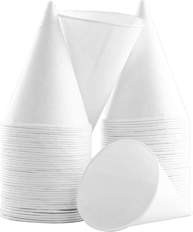 Eco Friendly Small White Paper Cone Cups 100Pk Wax Free Dispenser Cups For Shaved Ice Office Water Coolers Sports Teams Or Fundraisers Disposable Craft Funnels For Oil Or Protein Powder Drinks