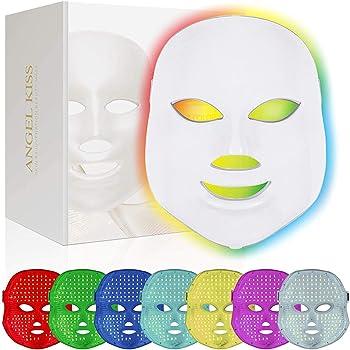 Led Face Mask, Angel Kiss Led Light Therapy 7 Color Facial Skin Care Mask - Blue & Red Light Treatment Acne Photon Mask Skin Rejuvenation Anti Aging Skin Tightening Wrinkles Toning Mask