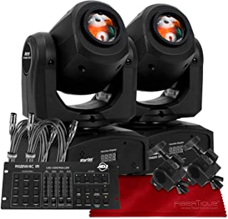 American DJ Stinger Spot, Startec Series Mini LED Moving Head Light, Black (2-Pack) with ADJ 32-Channel DMX Controller Deluxe Bundle