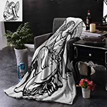 Digital Printing Blanket Zodiac Virgo,Young Woman Artistic Figure with Angel Wings Monochrome Tattoo Art Design,Black and White,Lightweight Cozy Plush Microfiber Blankets for Sofa Couch Bed 60