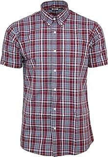 05b4596a43d5 Relco Mens Burgundy Tartan Check Short Sleeved Shirt Mod Skin Retro Indie  60s