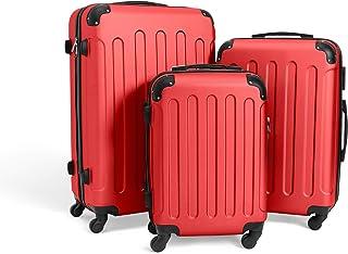 comprar comparacion Todeco - Juego de Maletas, Equipajes de Viaje - Material: Plástico ABS - Tipo de ruedas: 4 ruedas de rotación de 360 ° - E...