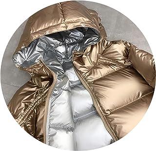 Two Sides wear Jacket Winter Hoodie Duck Down Jacket Glitter Winter Thick Duck Coat Jacket
