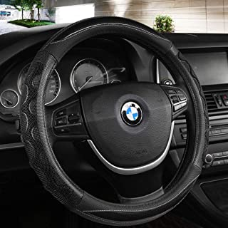 Black Panther Luxury Leather Car Steering Wheel Cover with 3D Honeycomb Hole Anti-Slip Design - Black,1 Piece (15 × 3.3 Inches)