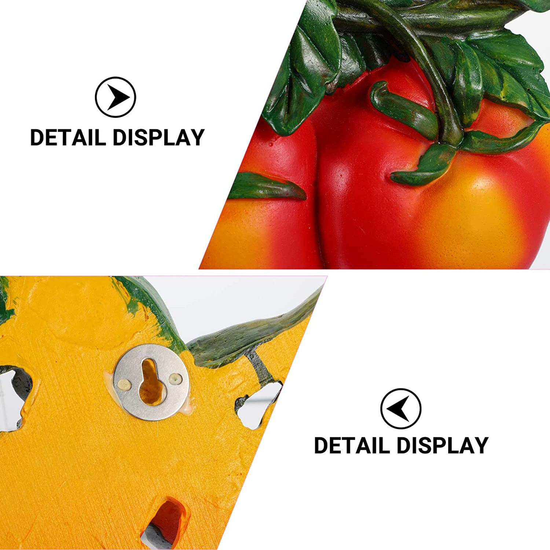 Orange DOITOOL 3D Artificial Vegetable Wall Art Large Lifelike Vegetable Fruit Decor Hanging Tomato Strawberry A pple for Wedding Kitchen Photography Decoration