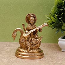 StatueStudio Brass Hindu Goddess Saraswati Statue Religious décor for Home Décoration Decorative Showpiece Office Gift Ido...