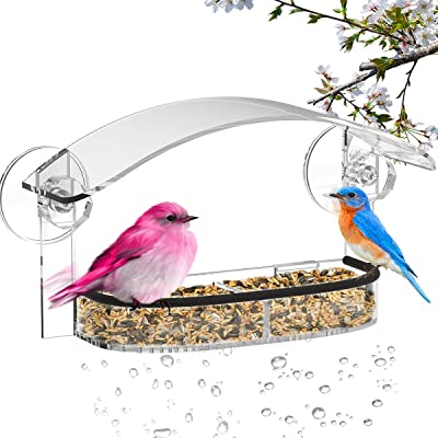 NIUXX Window Bird Feeder with Strong Suction Cups, 2-Sectioned Removable Seed Tray with Drain Holes, Outdoor Birdfeeder with Weatherproof Roof, Acrylic Outside Birdhouse Kits for Wild Finch, Cardinal