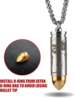 Titanium Mini Nitro Pill Fob Inner Diameter 0.32 Inch with Premium 25 Inches Necklace and Extra Chamber Tip Light Weight Pill Holder for EDC Waterproof 30ft