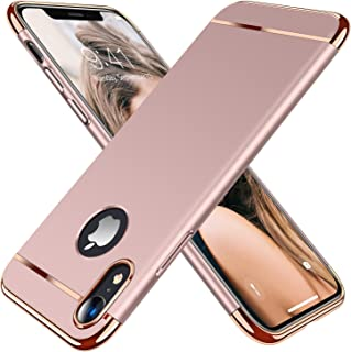 TORRAS Lock Series iPhone XR Case, 3-in-1 Luxury Hybrid Hard Plastic with Gold Trim Matte Finish Slim Thin Phone Case for iPhone XR 6.1 inches, Rose Gold