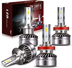 H7 LED Headlight Bulbs + H11/H8/H9 LED Headlight Bulbs Conversion Kit TURBO SII D6 Series CSP Chips Low Beam/Fog Light Bulbs with fans- 6000LM 6000K Cool White (4Pack,2 sets)