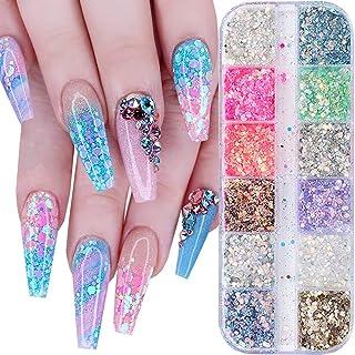 12 Colors Nail Glitter Sequins 3D Nail Art Glitter Mermaid Powder Nail Sequin Flakes Shining Colorful Holographic Nail Sha...