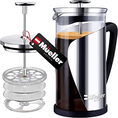 Mueller French Press Coffee, 20% Heavier Duty Stainless Steel Frame & Trumax Borosilicate Glass Coffee Press with 4 Level Fil