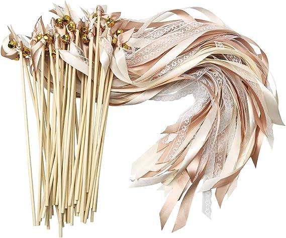 Cieovo Stäbe mit Hochzeitsbändern und Glöckchen