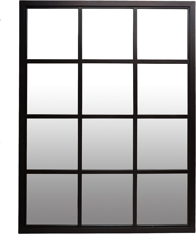 Patton Wall Decor 23x30 Classic Black Windowpane Mirror