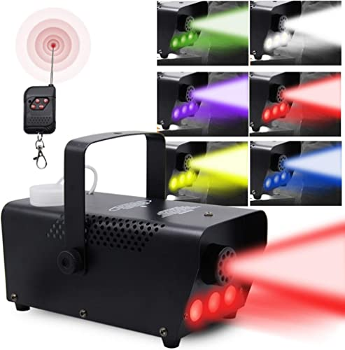 ATDAWN Fog Machine with Lights, Wireless Remote Control, Smoke Machine with 7 Colors Lights for Stage Party Effect, H...