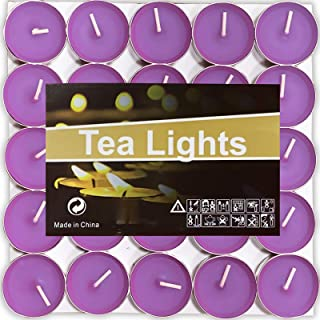 Decoration Purple Dripless /& Long Lasting Mini Tealight Candles for Mood Dinners 50 Pack Candles Scented Smokeless OUO Tea Lights Candles Parities Crafts Home Small Candles Wedding