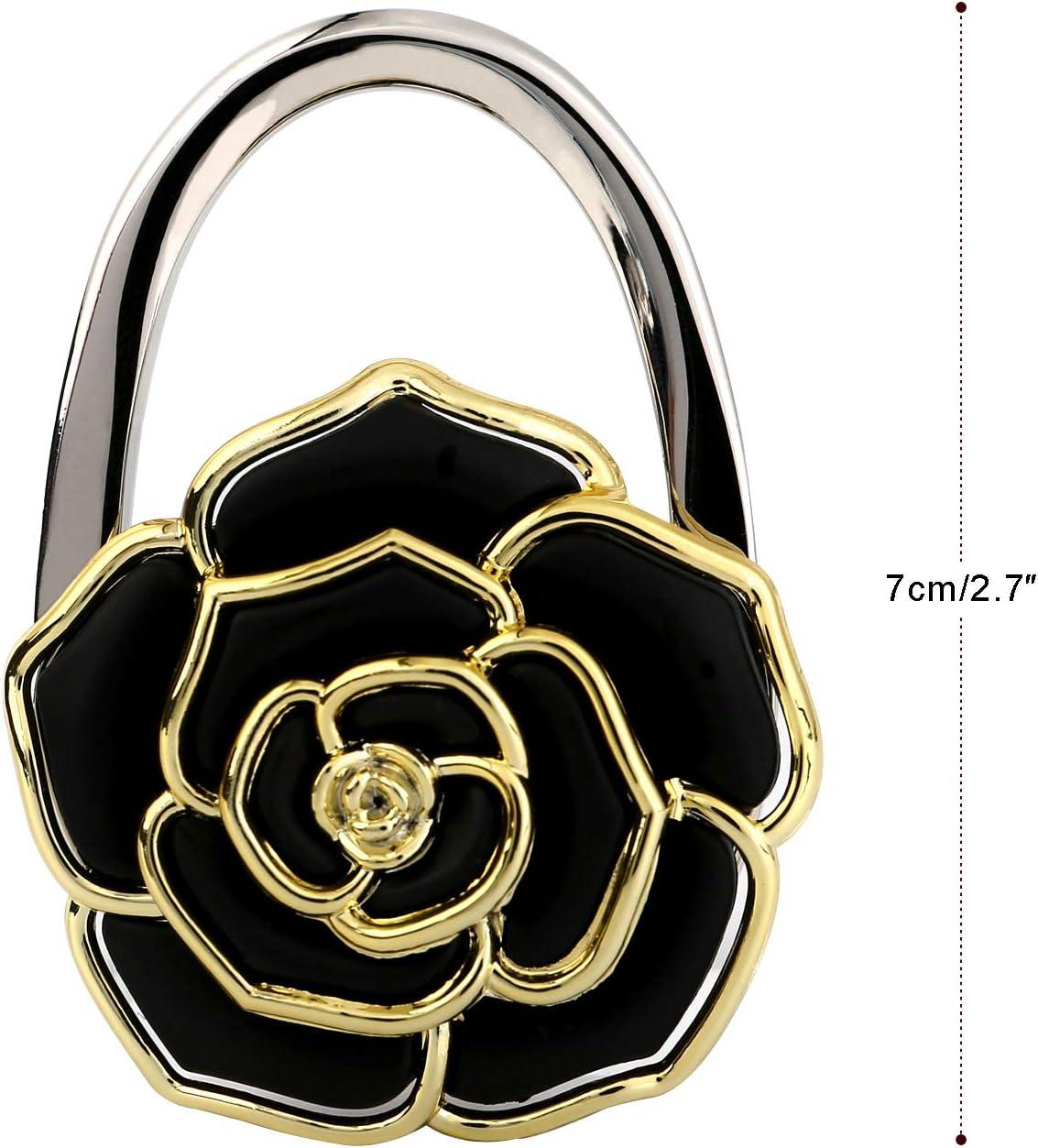 Portable Folding Handbag Hanger Women/'s Bag Holder Lady Charm Handbag Wallet Purse with Rose-Shape Handbag Holder for Table Desk OOTSR Foldable Handbag Hanger Purse Hook with Cleaning Cloth