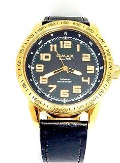 ساعة يد للرجال من اوماكس - رياضية، متعددة الألوان، مينا سوداء - سوار من الجلد - مقاومة للماء - Beeb1237