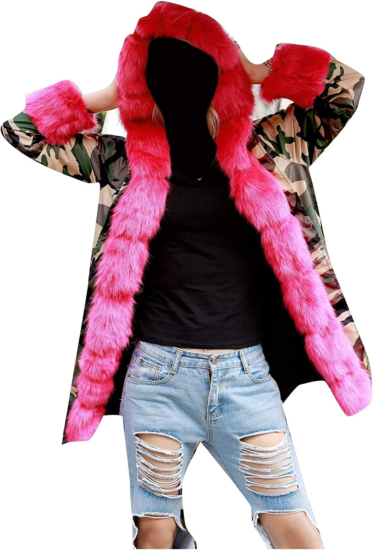 Coolhere Womens with Faux Fur Hood Warm Camo Brumal Coats Parkas Jackets