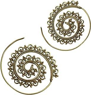 Spirali cerchi orecchino punti croci ottone antico golden Piercing Tribal