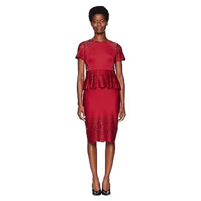 Marchesa Notte Short Sleeve Laser Cut Scuba Cocktail Dress (Red) Women