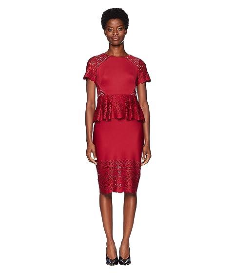 Marchesa Short Sleeve Laser Cut Scuba Cocktail Dress