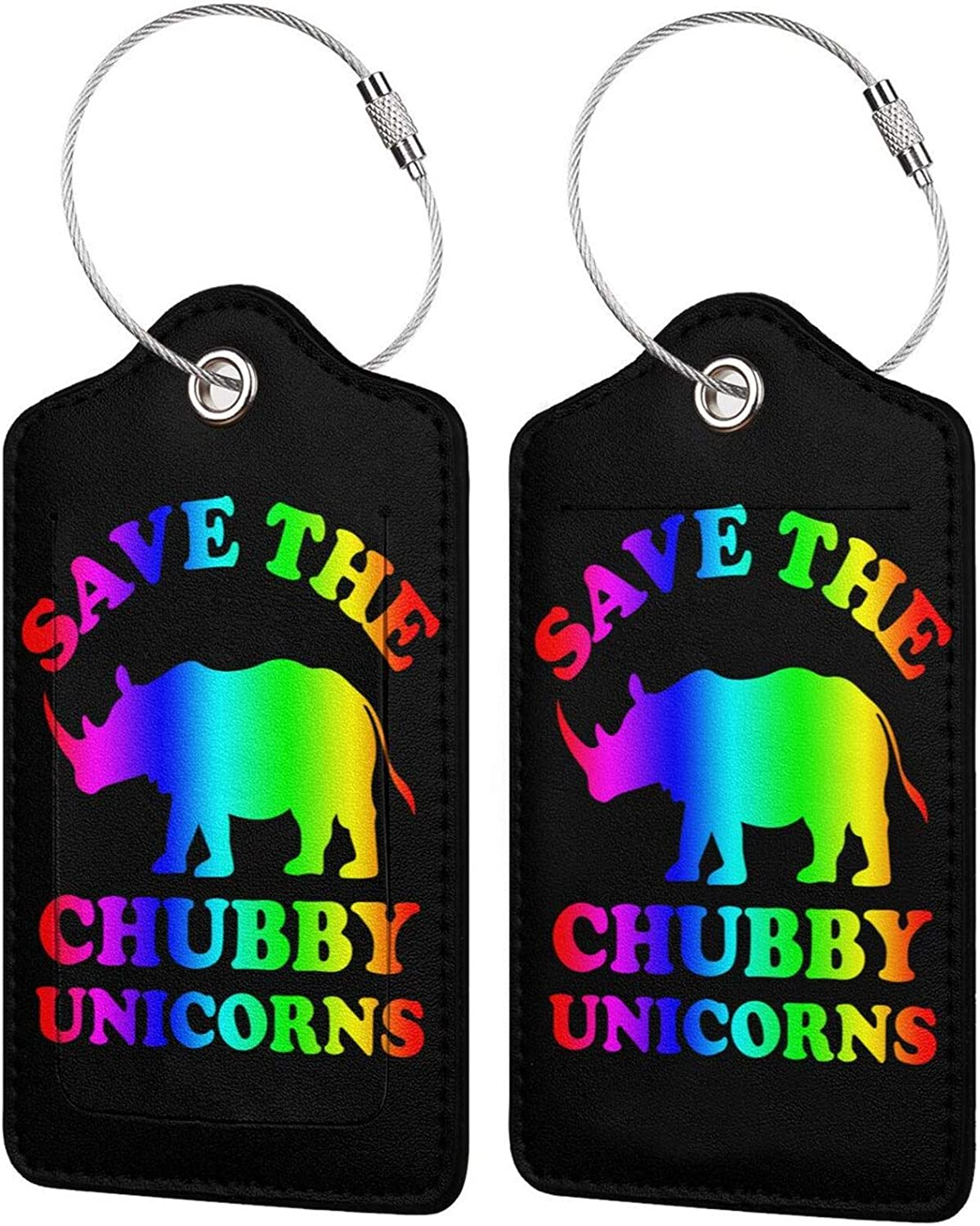 Spring new work Save The Chubby Unicorns Max 78% OFF PU Leather Rec Baggage Luggage Bag Tags