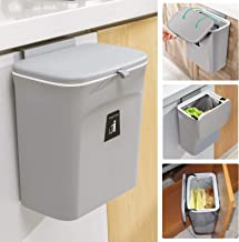 Tiyafuro 2.4 Gallon Kitchen Compost Bin for Counter Top or Under Sink, Hanging Small Trash Can with Lid for Cupboard/Bathr...
