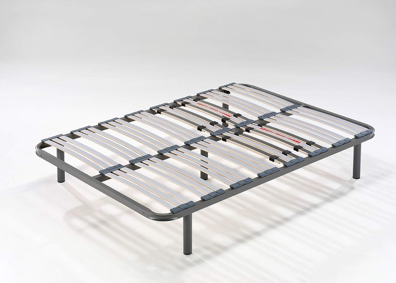 HOGAR24 ES Somier Multiláminas con Reguladores Lumbares, 105x190 cm (5 Patas de 32 cm Incluidas)