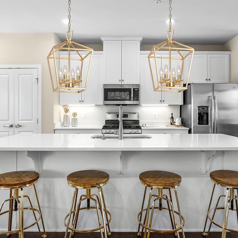 Untrammelife 9 Light Aged Gold Lantern Pendant Light, Adjustable Height  Metal Geometric Light Fixture 9'' Classic Cage Lantern Chandelier for  Kitchen ...