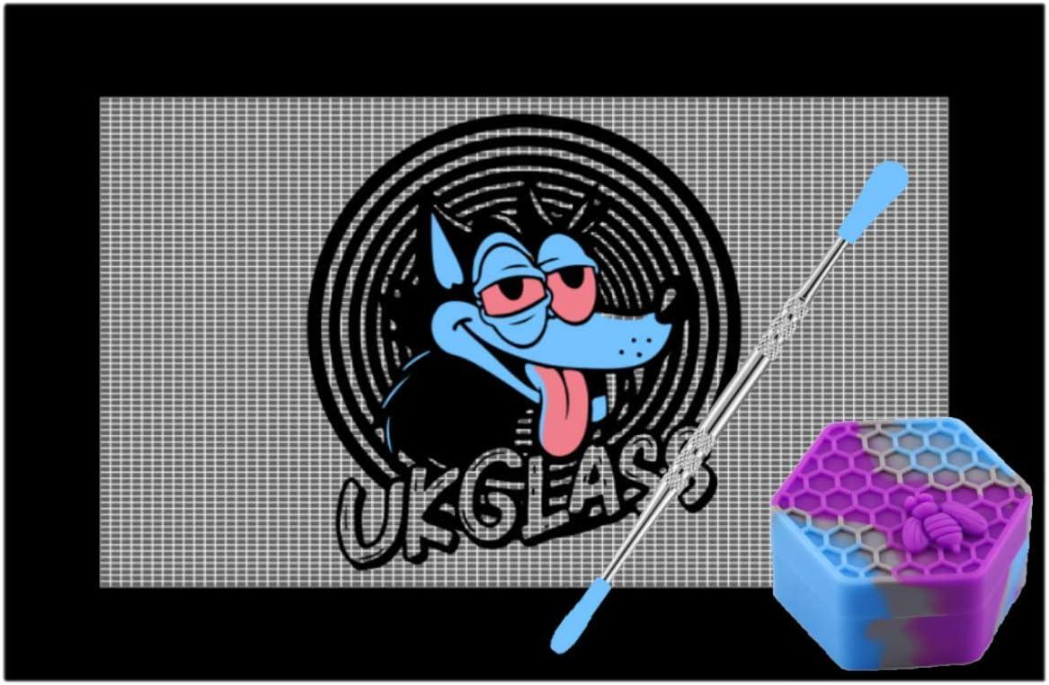 Dab Kit UkGlass 27 cm x 18 cm Grande tappetino antiaderente Dab Mat in acciaio inox con punte in silicone e 26 ml esagonale Air Tight Dab Pot kit con esagono Dab Dab Pot
