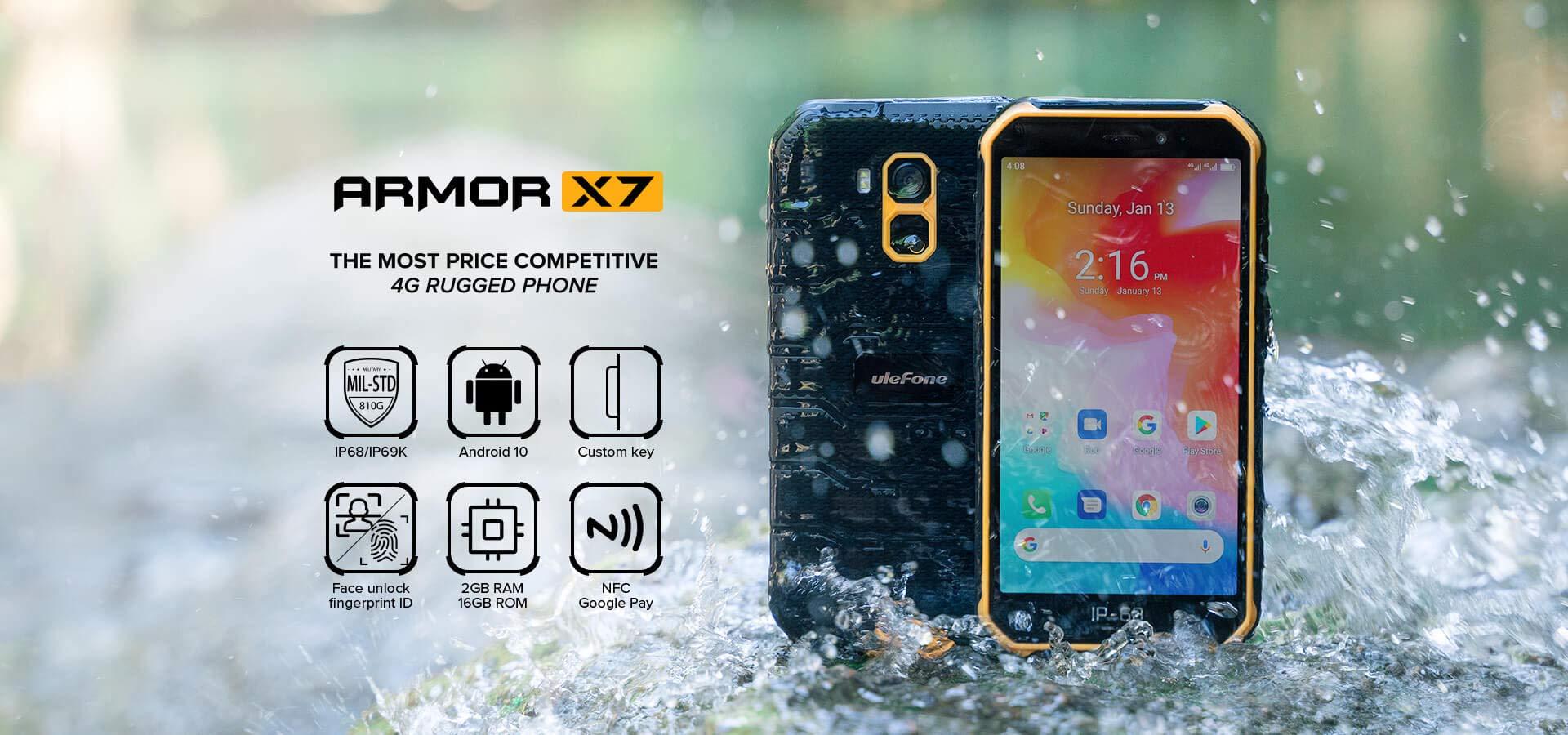 Móvil Resistente (2020), Ulefone Armor X7 Android 10 4G Teléfono ...