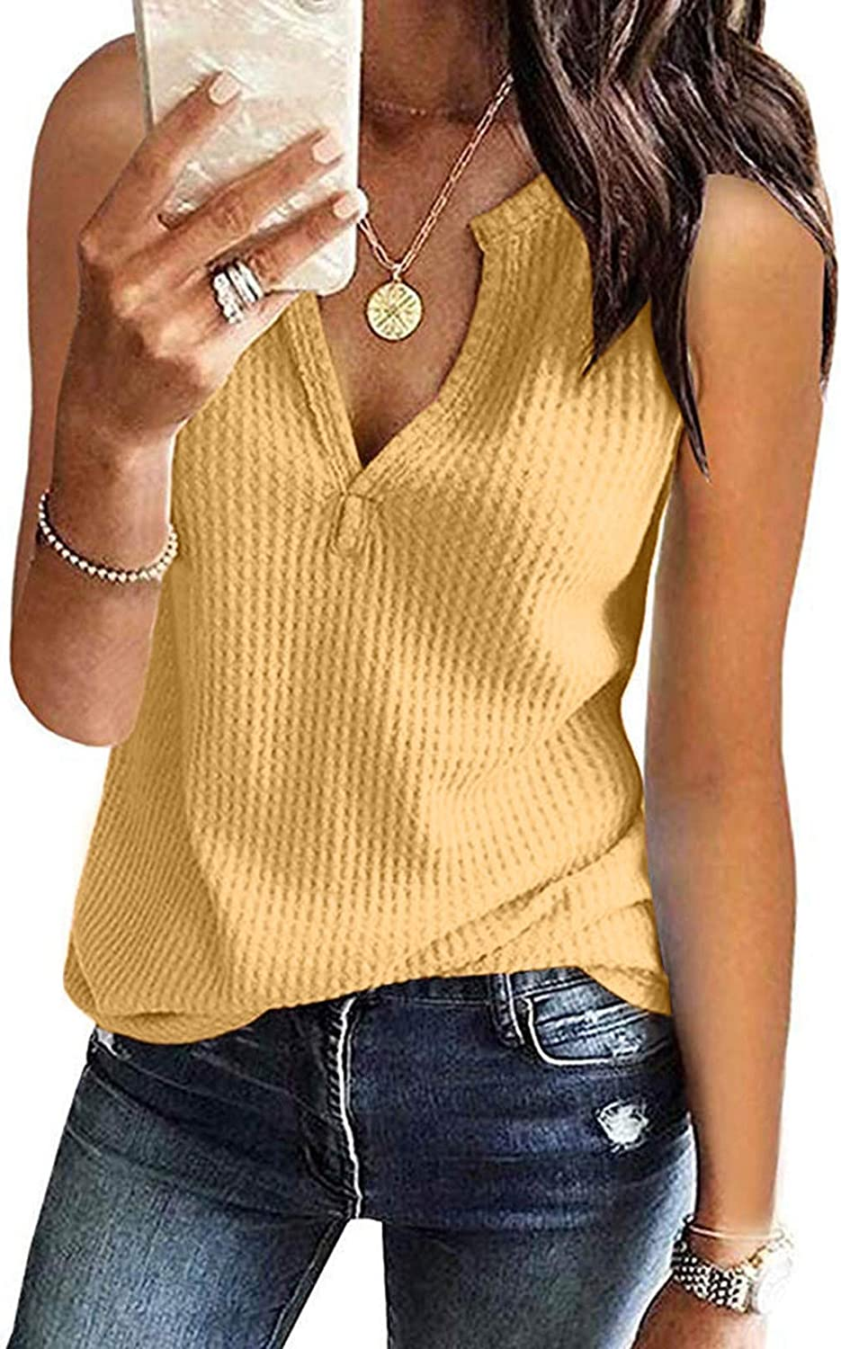 Womens Tank Tops Loose Fit Plus Size,Womens V Neck Button Down Tank Tops Summer Casual Waffle Knit Tees Shirts