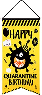 Blulu Quarantine Birthday House Flag Large Oxford Fabric Happy Birthday Theme Decorative Garden Swallowtail Flag Welcome H...