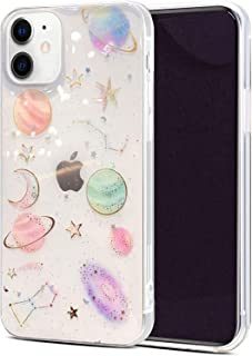 Abbery Designed for iPhone 12 Mini Planet case, Clear Soft TPU Flexible Rubber Star Moon Case Compatible for iPhone 11 Min...