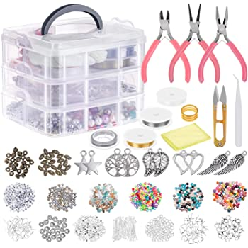 Charms Bracelet Earrings Making Cutters PP OPOUNT Deluxe Jewelry Making Supplies Kit Includes Assorted Beads Tweezers Findings Caliper and Storage Case for Necklace Bead Wire and Cord Pliers