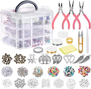 Jewelry Making Supplies, Cridoz Jewelry Making Tools Kit with Jewelry Pliers, Beading Wire, Jewelry Beads and Charms Findings for Jewelry Necklace Earring Bracelet Making Repair
