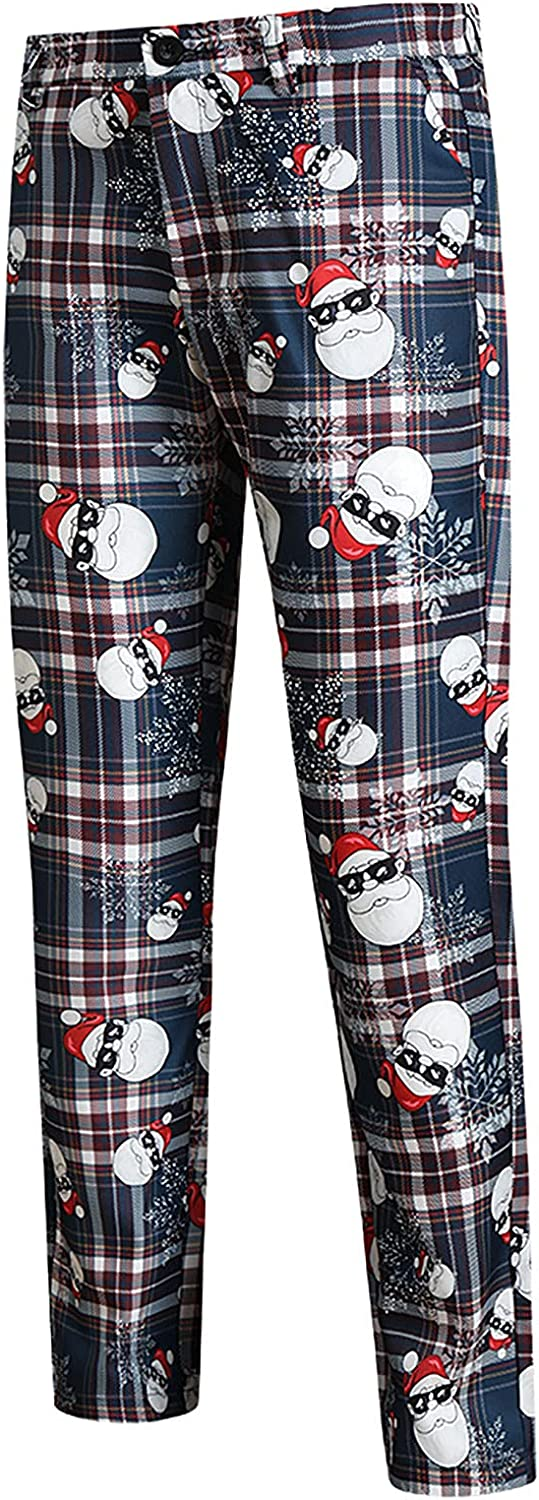 Mens Fashion Printed Pants Christmas Casual Slim Fit Flat Front Formal Pant Business Suit Trouser with Pockets