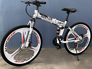 Deluxe Dual Suspension Foldable 21 Speed 3 Spoke Mountain Bike (White & Black)