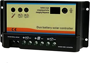 20 Amp Dual Battery Solar Charge Controller 12V/24V Auto-Switch for RVs Boats Campers Golf Carts Caravans PWM Charger Regulator Digital LED Display
