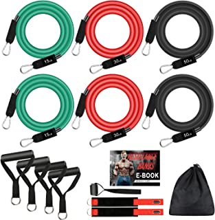Resistance Bands Set, 6 Stackable Exercise Tubes in 3 Pairs Workout Bands with 4 Foam Handles,Door Anchor,Legs Ankle Straps,eBook SUPALAK