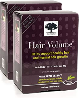 New Nordic Hair Volume w/Apple Extract, 90 Tablets (Pack of 2)