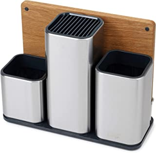 Joseph Joseph 95026 CounterStore Kitchen Utensil Holder Knife Block and Cutting Board Set, Stainless Steel