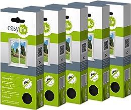 easy life® Vliegengaas voor ramen 3,00 x 1,50 m antraciet doorzichtig - perfecte bescherming tegen insecten (set van 5)
